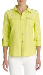 Jones New York Roll-sleeves 100% Linen Split Neckline Tunic Flap Pockets Button Down Shirt Yellow