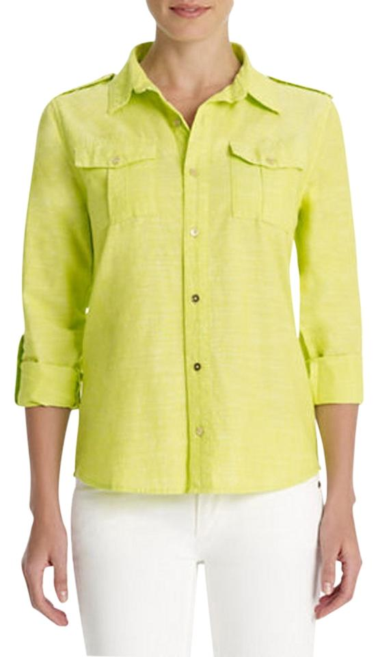 9047a650215 Jones New York Yellow Signature Womens Roll-sleeve Linen Tunic Button-down  Top