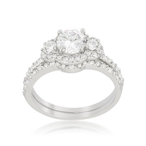 A. A. A. Cubic Halo Style Engagement Ring With Round Cut Cubic Zirconia And