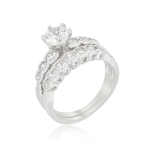 A. A. A. Cubic Round Cut Cz Centerpiece Set In Cathedral Style Over Graduated Cz Band