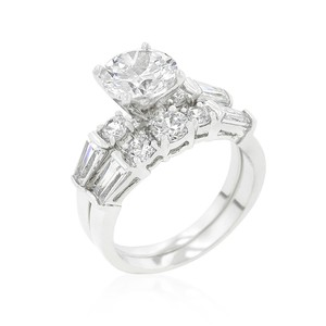 A. A. A. Cz Round Cut And Shouldered Baguettes Wedding Ring Set