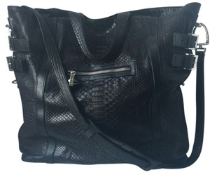 Emm Kuo Python Convertible Crossbody Handbag Tote in Black