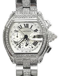 Cartier CARTIER ROADSTER 2618 CHRONOGRAPH AUTOMATIC WATCH WITH 10 Ct. Tw. AFTERMARKET SET DIAMONDS