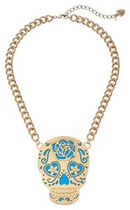 Betsey Johnson Phototech Gold & Blue Skull Frontal Necklace NWT $50