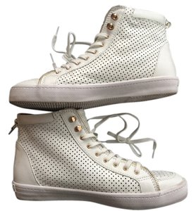 Rebecca Minkoff Leather Round Toe Textured New 37.5 7.5 Perforated Gold Zippers Sneakers Laces Hightops White Athletic