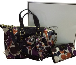 Coach Satchel in Brown,orange,white,black