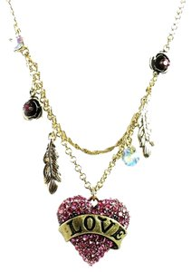 Betsey Johnson Betsey Johnson Lady Luck Collection Pink Crystal Love Heart Necklace NWT $55