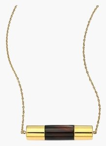 Michael Kors Michael Kors MKJ4573 Cityscape Black Agate Barrel Pendant Gold tone Chain Necklace NEW! $125