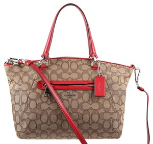 Coach Satchel in Khaki/Red