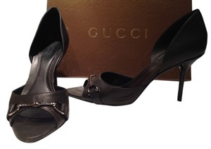 Gucci Peep Toe Buckle Dark Charcoal Grey Pumps