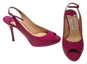 Jimmy Choo Patent Leather Slingback Orchid Platforms