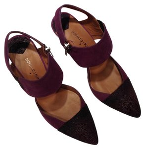 Donald J. Pliner Kid Suede Suede Stingray Print Leather Purple Pumps
