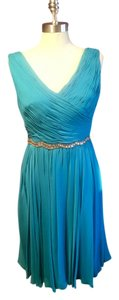 Marchesa Notte short dress Teal Gold Short Flowy on Tradesy