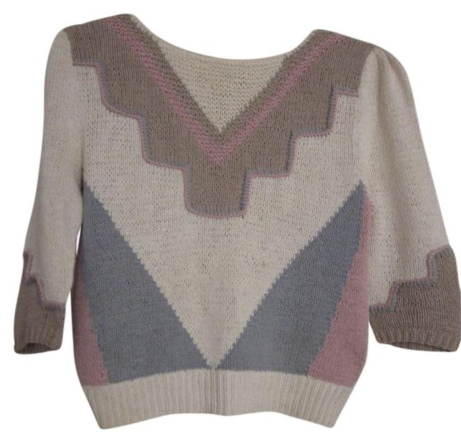 Preload https://item3.tradesy.com/images/lloyd-williams-cream-patterned-with-tan-pink-gray-sweaterpullover-size-12-l-112917-0-0.jpg?width=400&height=650