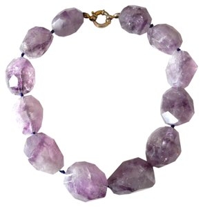Other Massive Semi Precious Purple Stones Choker with Silver Clasp