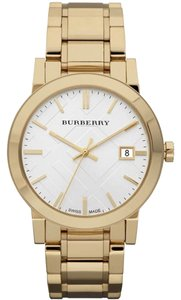 Burberry NWT Unisex Swiss Gold Ion-Plated Stainless Steel Bracelet 38mm BU9003