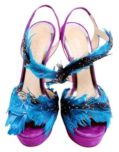 Jimmy Choo Feathers Goose Feathers Stones Ankle Strap Suede Sandals Violet/Blue Platforms