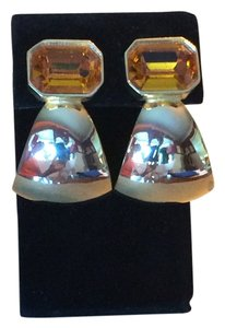 Vintage Faux Gold & Topaz Clip Earrings