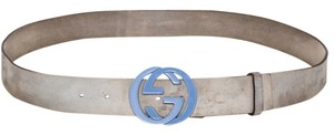 Gucci * Gucci Suede Interlocking G Buckle Blue Belt - Size 42