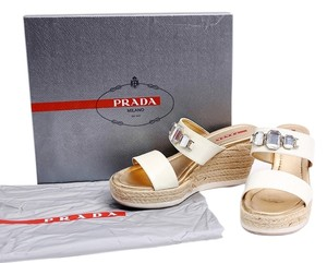 Prada Patent Leather Sandals Jewels White Wedges