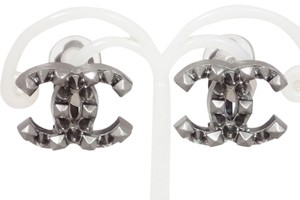 Chanel Chanel CC Studded Pyramid Monogram Stud Punk Edgy Earrings.
