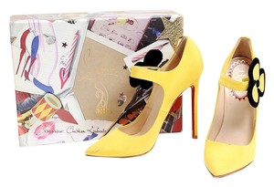 Christian Louboutin Flower Black Strap Buckle Pointy Toe Red Soles 60s Inspired Yellow Pumps