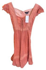 Saja short dress Coral Summer Linen Corset on Tradesy