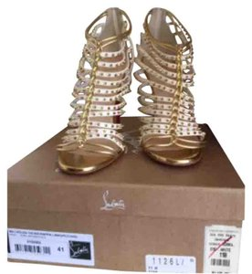 Christian Louboutin Millaclou 100mm Strappy Sandal Gladiator Gold Beige Formal