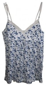 American Eagle Outfitters Sleeveless Cami Top White w/ Blue Flower Details
