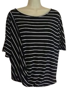 Anthropologie Flowy Boxy Cropped Bubble Hem Top Black and white stripe