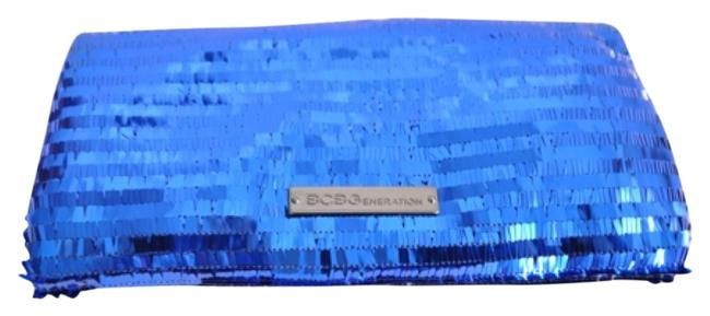 Item - Evening Bag New Purse Handbag Sequin Foldover Zip Blue Clutch