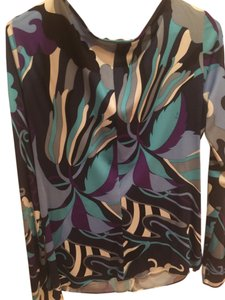 Emilio Pucci Size 14 Top navy white and purple