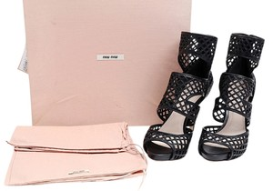 Miu Miu Leather Ankle Mesh Peep Toe Black Boots