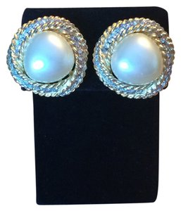 Kenneth Jay Lane Vintage Faux Gold & Pearl Kenneth Lane Clip Earrings