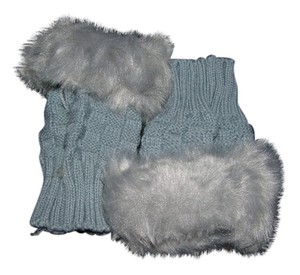 Other Light Grey Faux Fur Fingerless Gloves Free Shipping