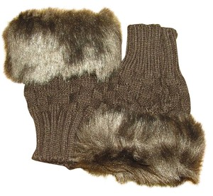 Coffee Colored Faux Fur Fingerless Gloves Free Shipping