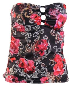 Guess Black Floral Bandini Strapless/Removable Halter Strap Swim Top Separates Size M