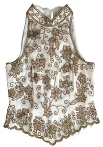 Adrianna Papell Top silk - off white/gold