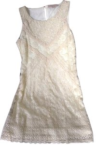 Champagne and strawberries short dress Ivory Anthropolgie Lace Shift on Tradesy