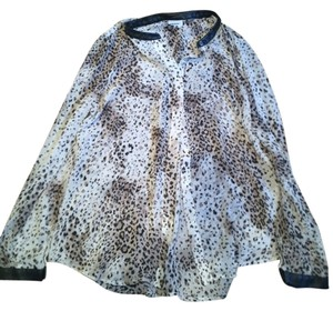 DKNY Top White Leopard Black Leather