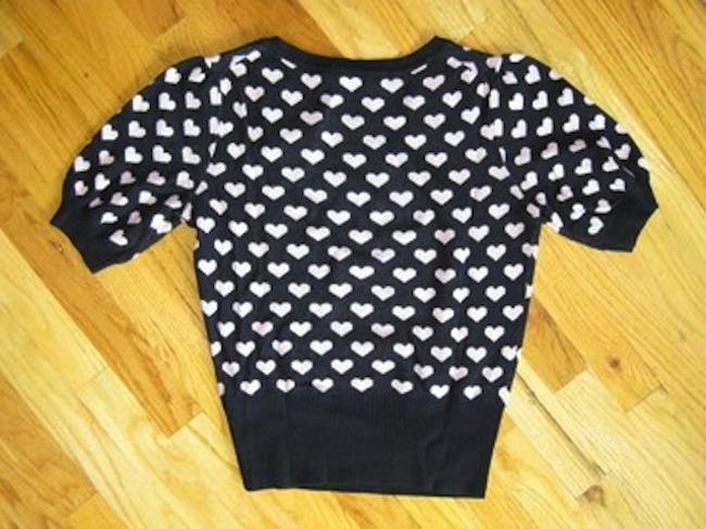 French Connection Short Sleeve Hearts Sweetheart Sweater
