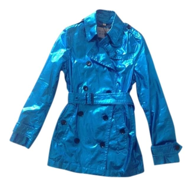 Burberry Brit Metalic Teal Womens Jacket Size 4 (S) Burberry Brit Metalic Teal Womens Jacket Size 4 (S) Image 1