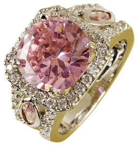 Other New size 8, Nice Pink & White Topaz Gemstone Silver Ring