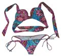 Luli Fama Multi Colored Push Up Brazilian Scrunch Bikini Set Size 4 (S) Luli Fama Multi Colored Push Up Brazilian Scrunch Bikini Set Size 4 (S) Image 1
