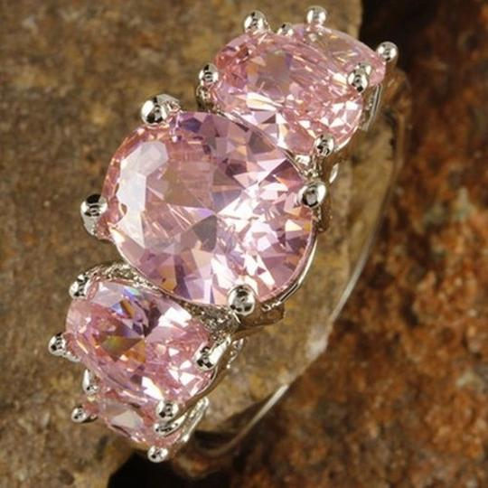 Other New Size 6, Oval Cut Pink Topaz Gemstones Silver Ring Image 1
