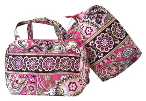Vera Bradley Lunch Overnight Pink Plum Green White Travel Bag