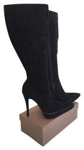 Colin Stuart Suede Knee High Stiletto Black Boots