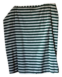 Talbots Skirt Green and off white striped
