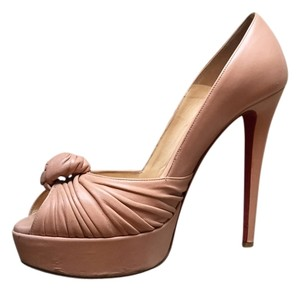 Christian Louboutin Leather Peep Toe nude Pumps