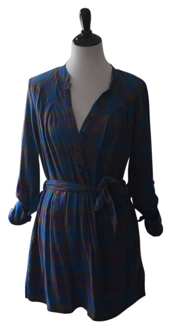 Charlotte Ronson Blue Long Sleeve Plaid Above Knee Short Casual Dress Size 6 (S) Charlotte Ronson Blue Long Sleeve Plaid Above Knee Short Casual Dress Size 6 (S) Image 1